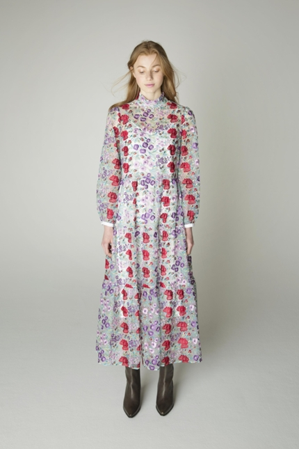Flower Multi-color Embroidery Stand Collar Dress