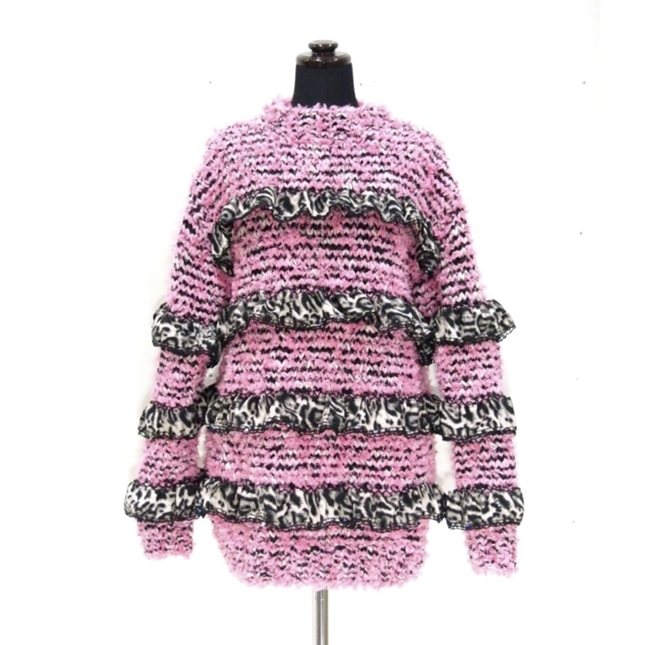 Pink knit mixed leopard print lace