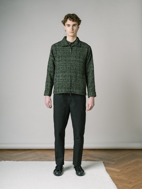 BERNAT JACKET IN FOREST GREEN/ BLACK LOCHCARRON WOOL