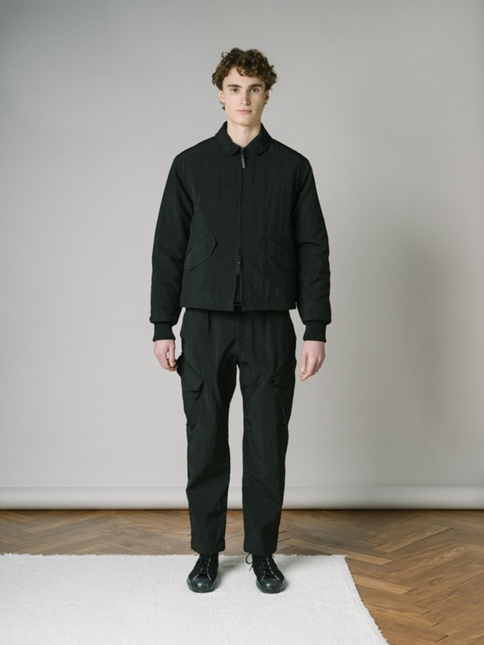 FLIGHT JACKET IN BLACK WATER REPELLENT ITALIAN NYLON WITH RECYCLED PADDED LINER