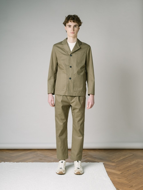 EARLSTON BLAZER IN KHAKI RECYLCED ORGANIC COTTON